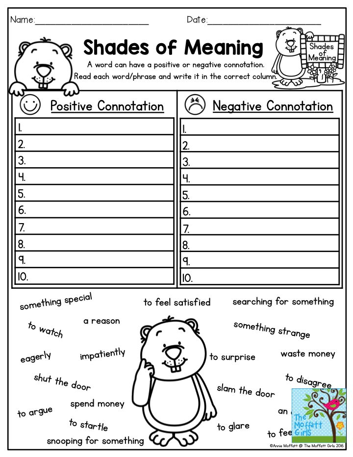 Connotation worksheets 4th grade