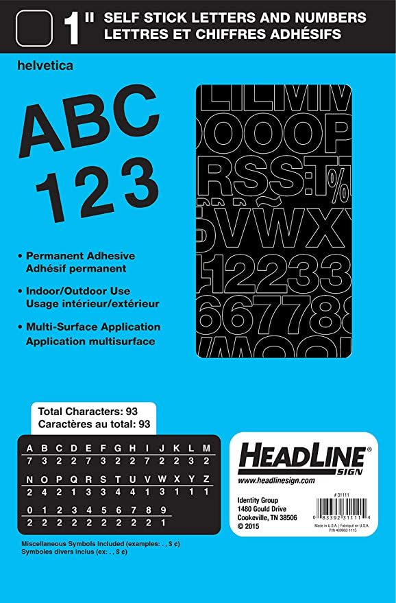 Amazon Com Headline Sign 31111 Stick On Vinyl Letters And Numbers Black 1 Inch Business And Store Signs In 2020 Stick Letters Letters And Numbers Vinyl Lettering