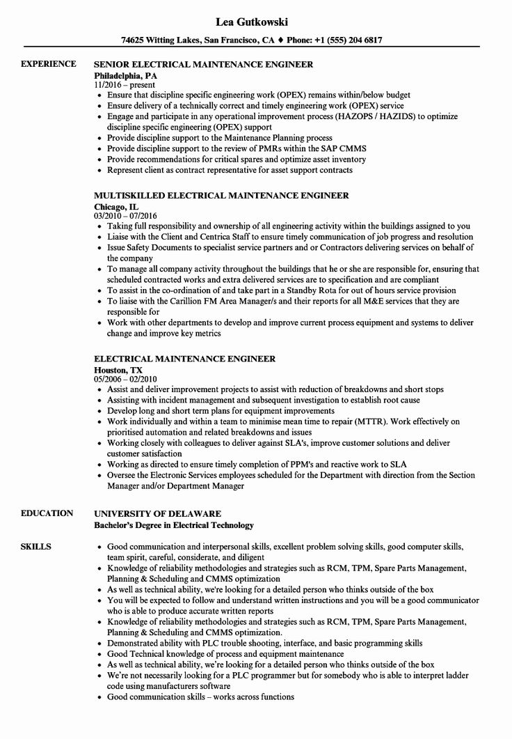Electrical engineering student resume new electrical