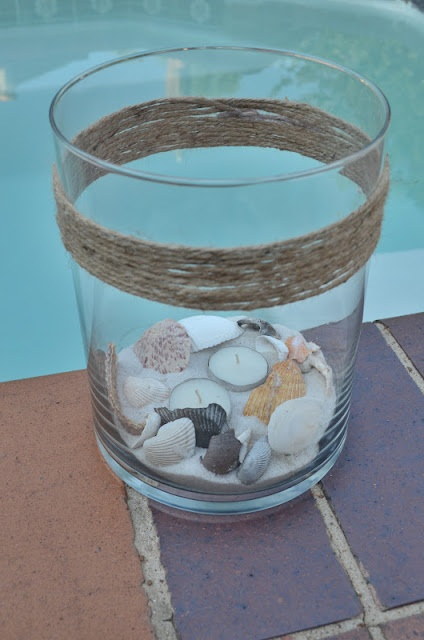 DIY Citronella Patio Candle with sand & sea shells