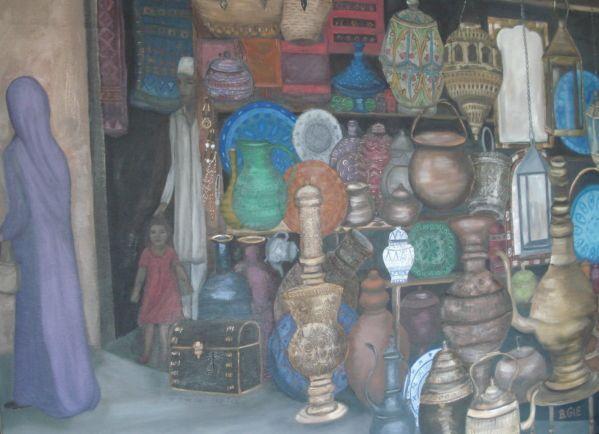Oil paint of a Moroccan Souk