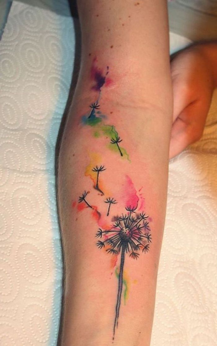 Small Flower Tattoos Dandelion Watercolor Forearm Tattoo White Paper In 2020 Dandelion Tattoo Tattoos Tattoos For Guys