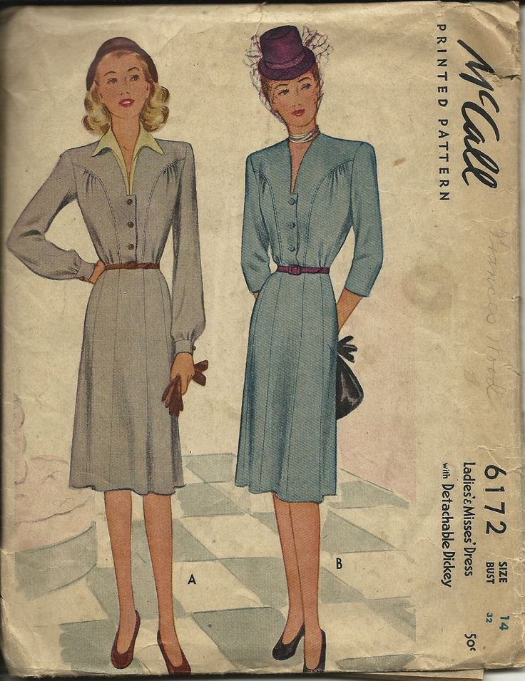 McCalls 6172 Vintage C1940's  Misses Dress with detachable Dickey  Size 14 by TudorHouseTreasures on Etsy
