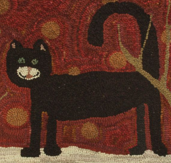 This is a great rug! I like hooking rugs and I like hooking cat patterns. I also like red. So my latest hooked cat rug. A black cat. Showing off his tongue. When I lived in Wisconsin I regularly visited a garden center where all the cats let their tongues hang out. Genetic I suppose. They really looked cute. Rug measures 29 1/2 x 18 1/2. It has every color of red wool I own in the background from almost orange to almost purple. He needs a name. My black cat was named Spook. You can ...
