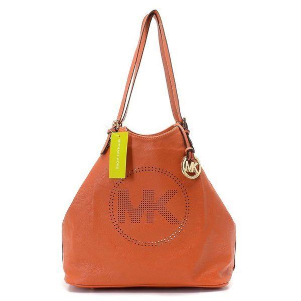 Michael Kors Perforated-Logo Grab Large Orange Shoulder Bags