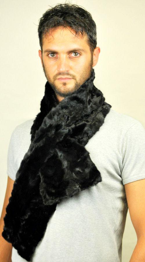 Black mink fur scarf for men, created with black mink fur remnants.  www.amifur.co.uk