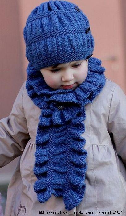 Детский комплект Frill Set: шапочка и шарф. Спицами. / Обсуждение на LiveInternet - Российский Сервис Онлайн-Дневников