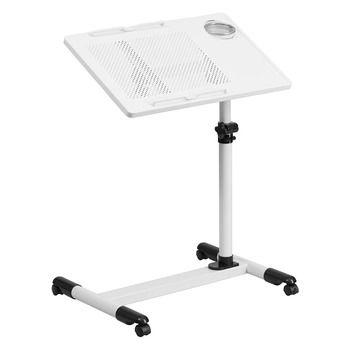 Flash Furniture White Adjustable Height Steel Mobile Computer Desk
