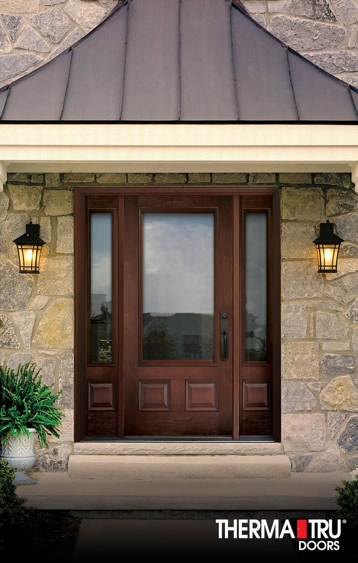 Therma Tru Classic Craft Mahogany Collection Fiberglass Door With Low E  Glass.