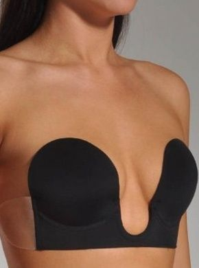 Strapless U-plunge bra with push up pads! This bra is completely backless, the side wings adhere gently to the skin.  girls with boobs can wear the cute backless styles too! - Click image to find more Women's Fashion Pinterest pins