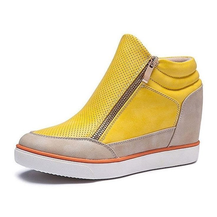 Women's Fashion Casual Leather High-Top Side-Zip Sneakers 3 Colors