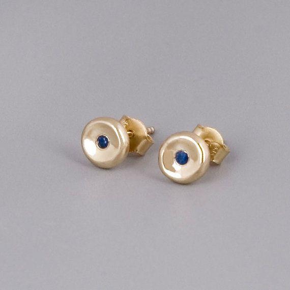 Gold Sapphire Stud Earrings, 14K Gold Stud Earrings, Solid Gold Posts, Sapphire Studs, Blue Sapphire, Bridal Earring, Classic Post Earrings