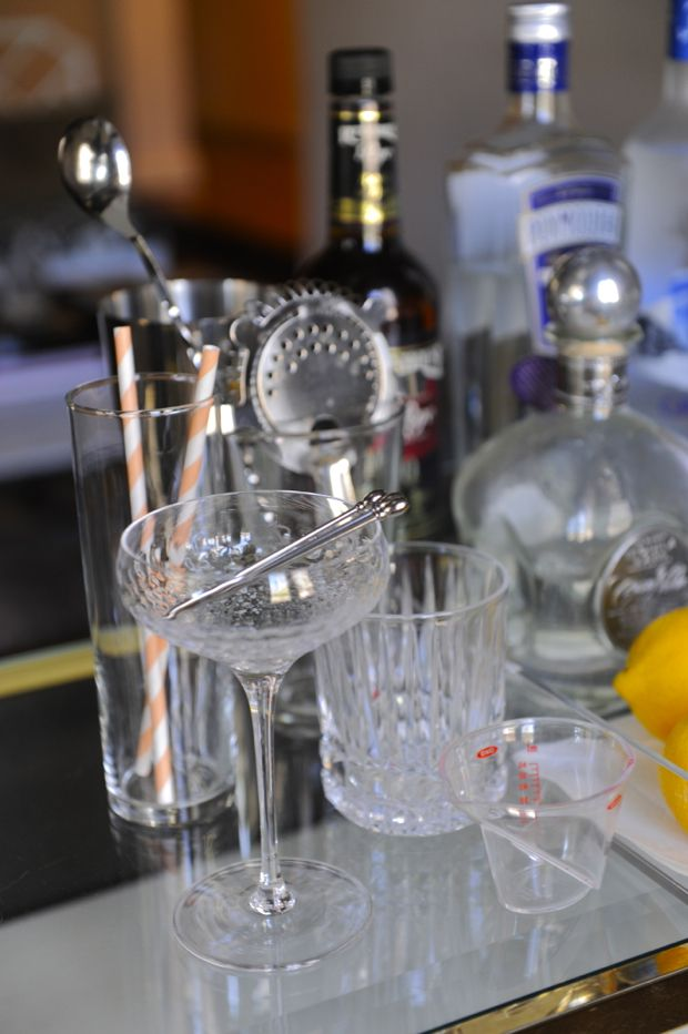 """tips for building a fully stocked """"home bar"""" for parties / entertaining guests"""