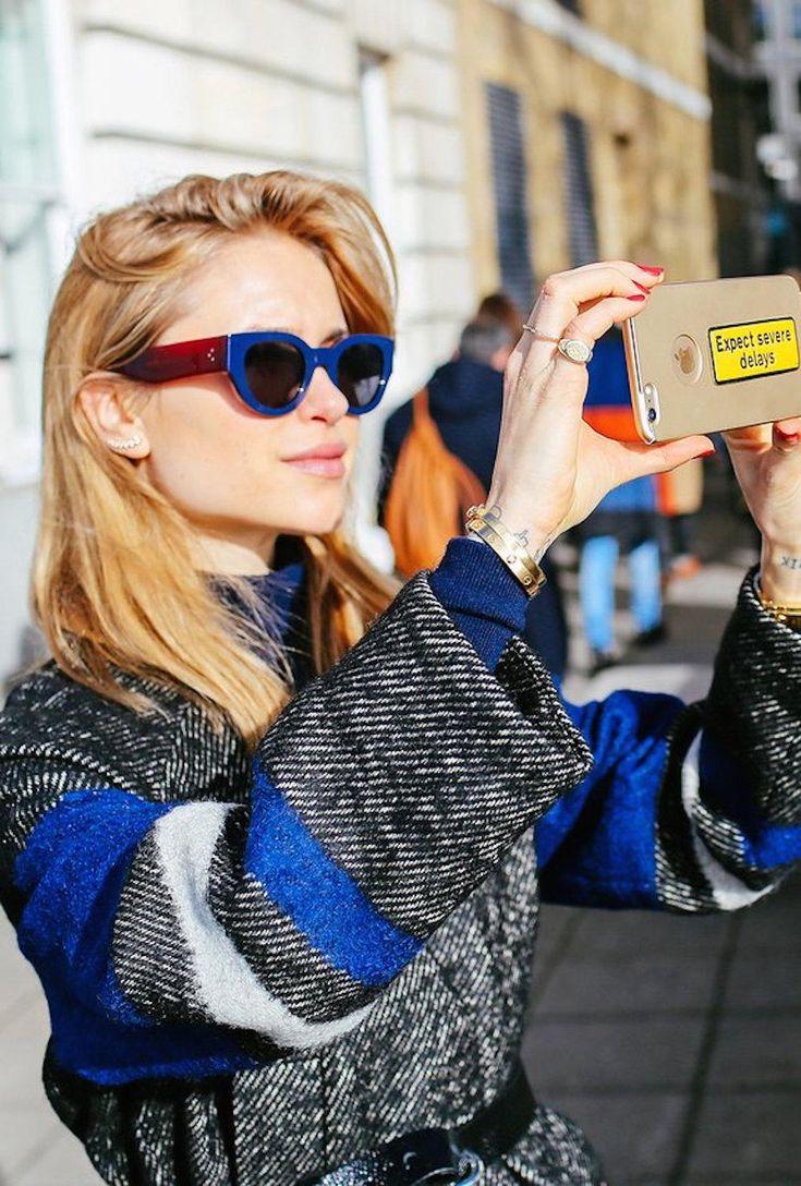 Pernille Teisbaek with an Anya Hindmarch phone sticker