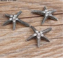 New Rhinestone/Crystal Alloy Ancient silver plated Cartoon Starfish Stars shape jewelry charms diy Brooch/phone shell decoration(China (Mainland))