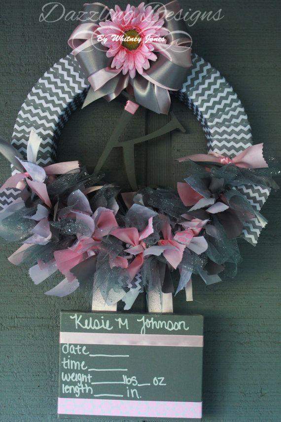 Chevron and pink Baby Hospital/Nursery Door Wreath. Birth announcement. Baby hospital door decoration.