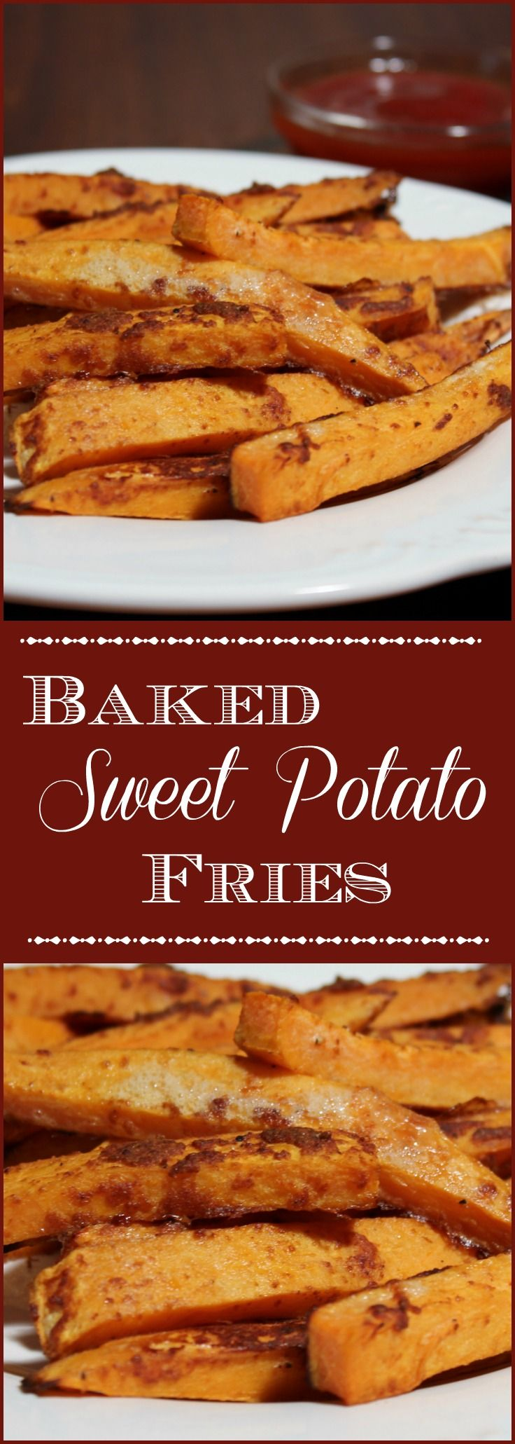 Baked Sweet Potato Fries - One of my favorite pub snacks are sweet potato fries. This savory snack or  side dish is the perfect accompaniment to a cool beer and a hardy sandwich.