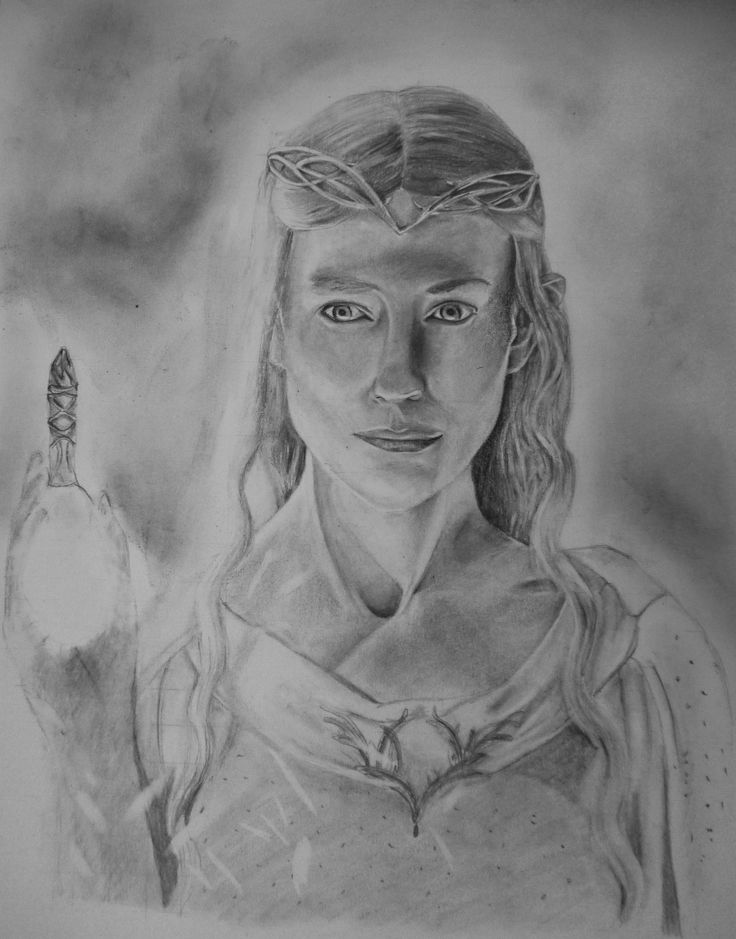 Galadriel, The Lord of the Rings, pencil on white paper