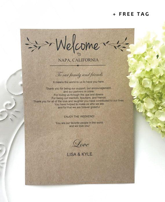 Wedding Gift Bag Letter : ... Hotel gift cards, Destination wedding bags and Wedding gift bags