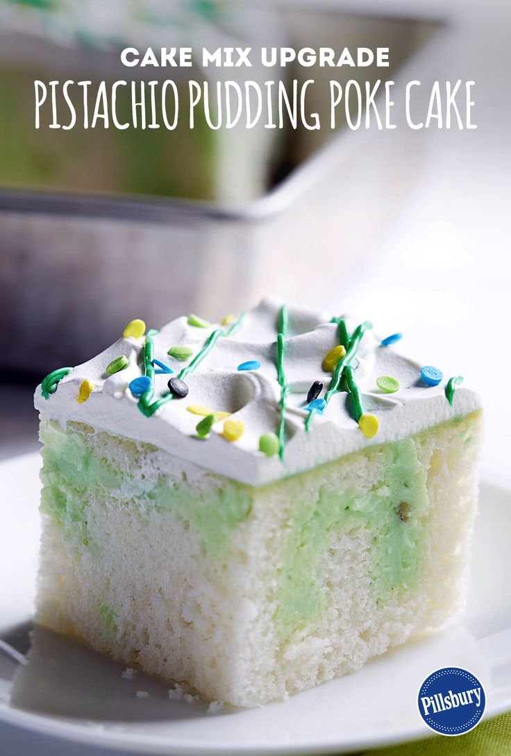 Our Pistachio Pudding Poke Cake is the perfect cake for St. Patrick's Day. With ingredients like pistachio pudding,  whipped topping, green frosting and white cake mix, you will have a charming dessert.