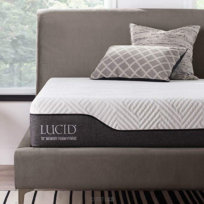 Lucid 10 Inch Twin Hybrid Mattress Bamboo Charcoal And Aloe Vera Infused Memory Foam Moisture Wicking Odor Reducin Hybrid Mattress Mattress Soft Mattress