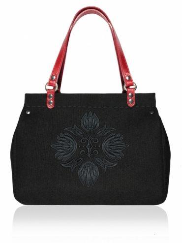 Plstěná vyšívaná kufříková kabelka do ruky ROOS (menší) 1326