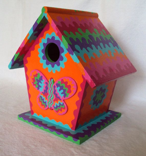 Psychedelic Butterfly Handpainted Birdhouse by SingingTrees, $35.00