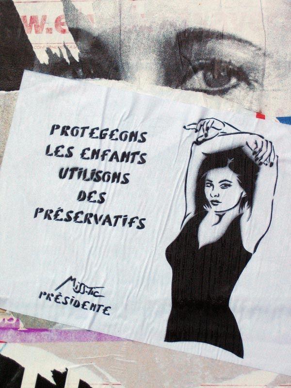 #streetart #misstic Campagne présidentielle (11) - Miss.Tic s'affiche ...