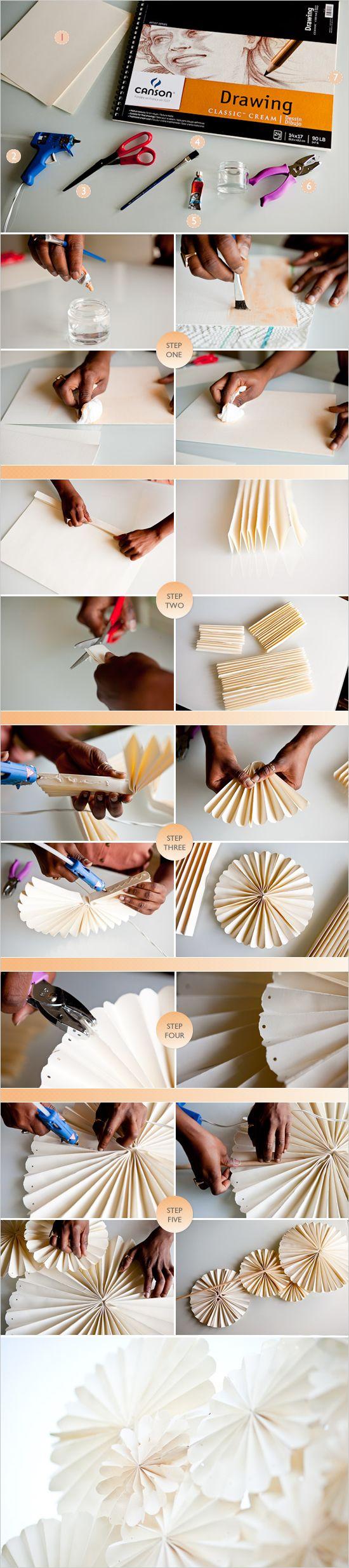 壁に貼付けるタイプの飾りを手作りする方法について、写真つきで説明されているページ。グルーガンで簡単手作り!