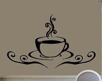 Coffee Mug Wall Decals Coffee Time Coffee Cup Kitchen Cafe Decor Home Interior Design Vinyl Decal Sticker Kids Nursery Baby Room Decor kk196
