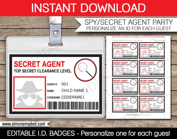 Spy or secret agent badge template red kaylee for Spy id card template