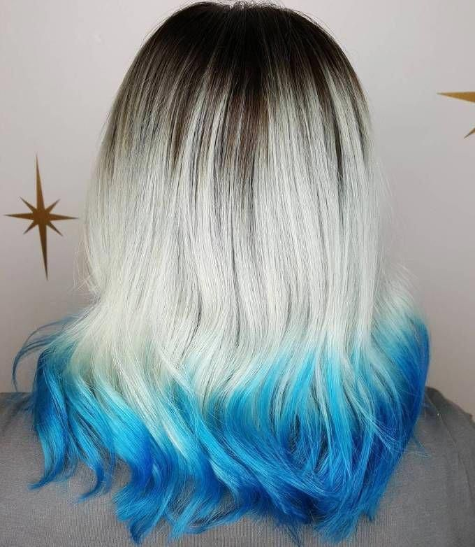 Ash Blonde Hair With Blue Dip Dye #blueombre   – blue ombre
