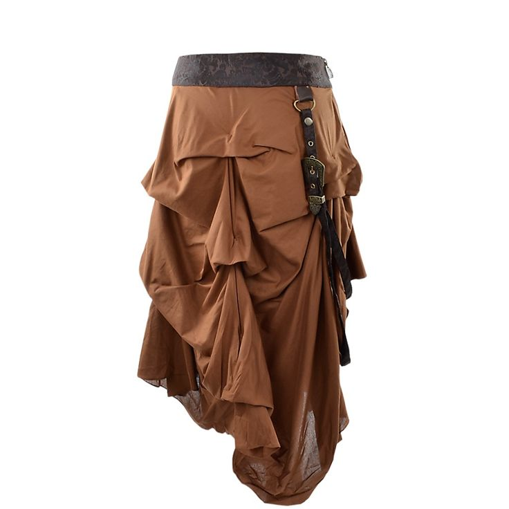 This short steampunk skirt is gorgeously gathered to the point where the back looks a little like a bustle skirt but without the length. It has volume and it certainly has character. Perfect as part of an elaborate cosplay outfit. There is a belt and buckle detail draping down the front of the skirt adding extra interest and the cotton cambric fabric has a nice steampunk-ish, old-fashioned texture.