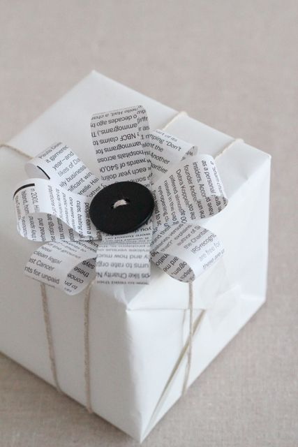BOWS - Scrap ribbon, newspaper, non-reusable gift bags, etc.
