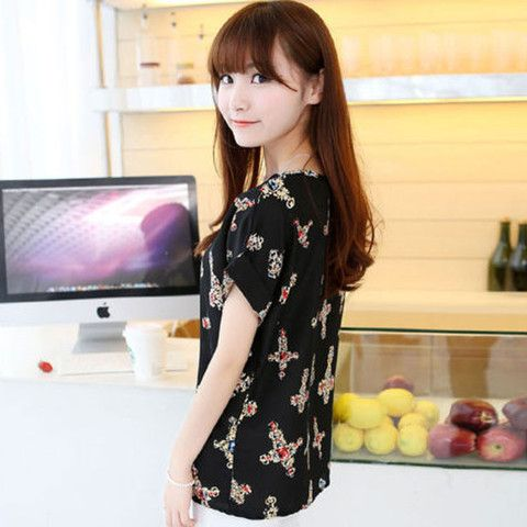 Women's Short Sleeve O-neck Printed Casual Loose T-Shirt $14.99 CAD