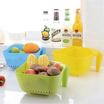 Colorful Home Draining Basket Fruits Vegetables Basket Tape Handle Plastic Basket