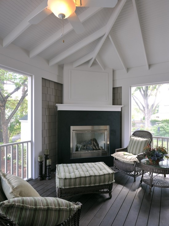 Screened Porch With Corner Fireplace Outdoor Room Porch Pinte