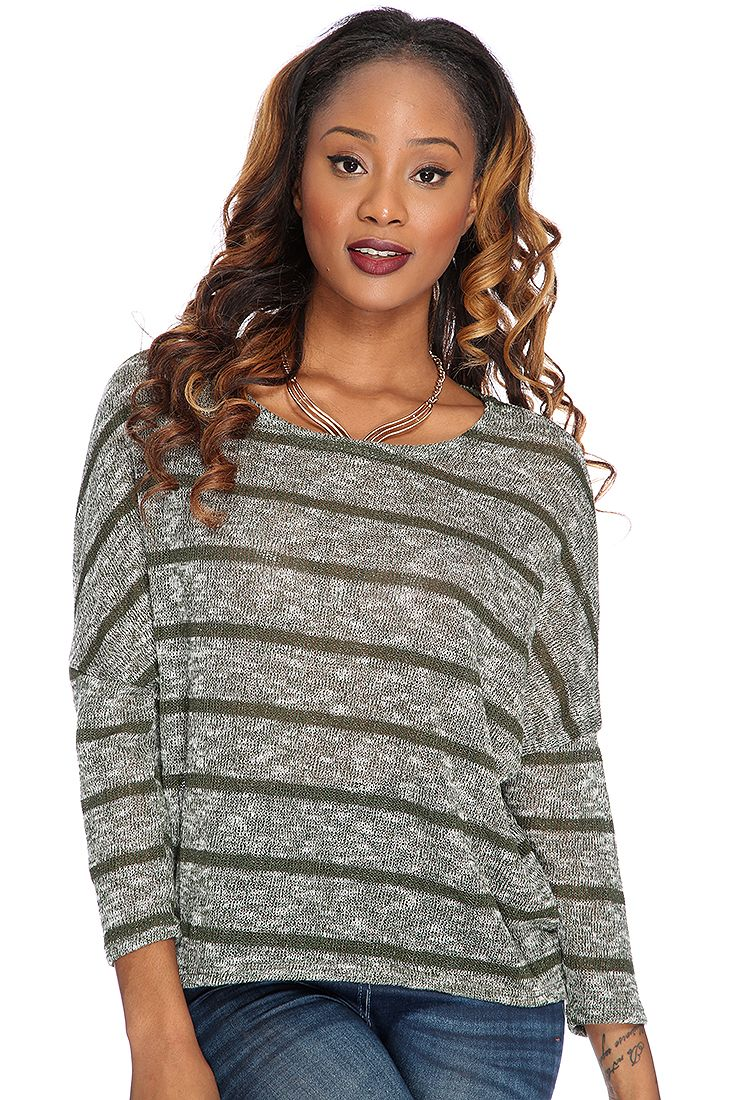 Olive Horizontal Stripe Open Knit Sweater Top
