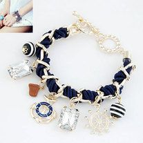 Bracelet with Gold Chunky Chain and Rope Has Nautical-inspired charms Perfect for everyday wear  5 available colours