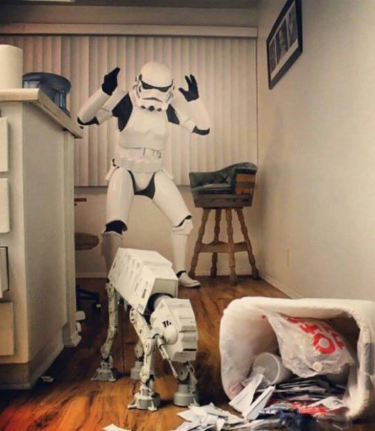 Bad little AT-AT!  :p  The stormtroopers have enough to do without cleaning up that mess.