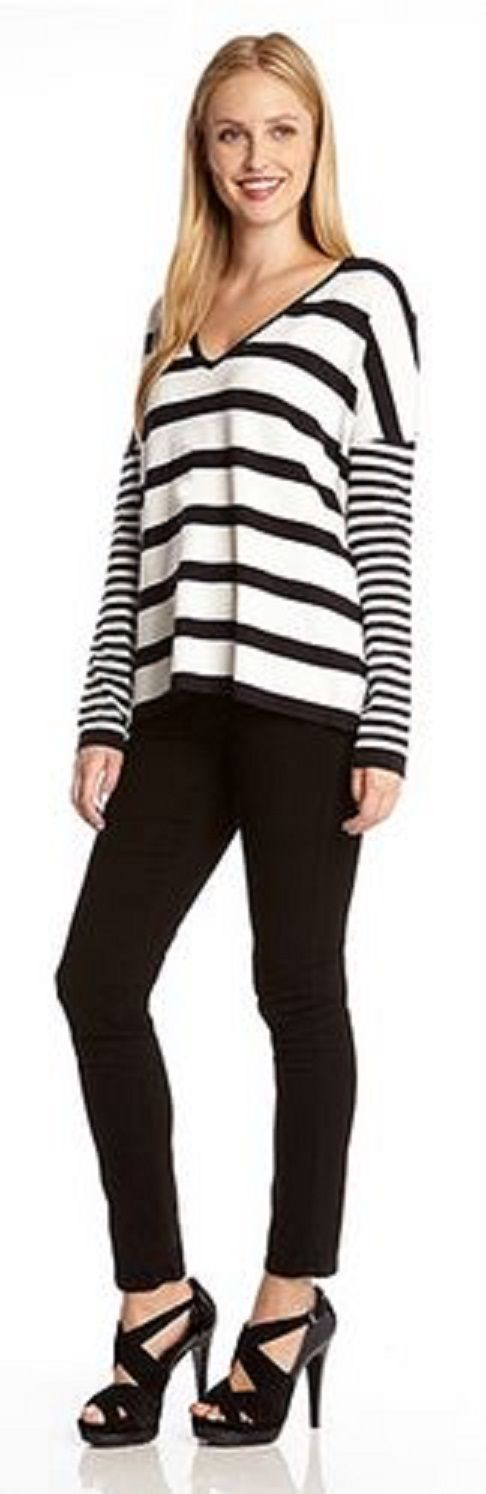 Casual, Cool Urban Fashion! Karen Kane Black and White Starboard Stripe Pullover #Karen_Kane #Nautical #Stripe #Fashion