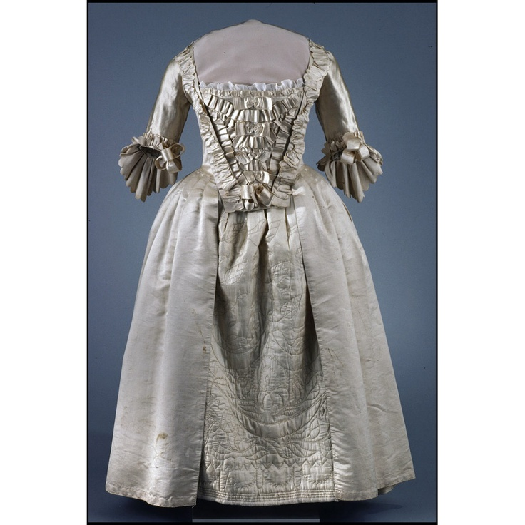 ca. 1756, England  According to vendor, the gown was worn by Ursula Westof of Leichester, who married John Robinson of Hinkley, Sept.9, 1756; she died 1778.