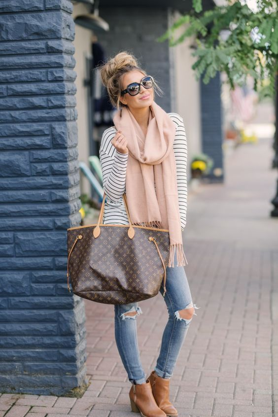 My casual fall style–particularly the blush color scarf, huge bag–love each pi…