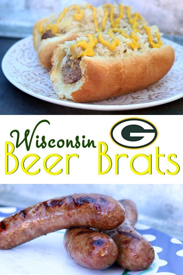 Wisconsin Beer Brats – the essence of football tailgating – and us Cheeseheads got this recipe down to an art! Beer braised, browned on the grill and topped with a heaping load of sauerkraut and a drizzle of mustard.:
