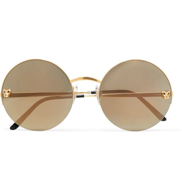6915826482fa Cartier Panthère round-frame gold-plated mirrored sunglasses (3