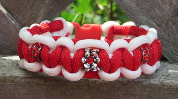 Red & White Paracord Bracelet / Canada 150 Bracelet / Paracord