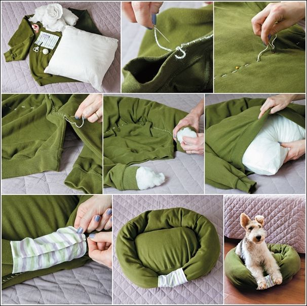 Cama con suéter  on 1001 Consejos  http://www.1001consejos.com/social-gallery/cama-para-perro-tela-2