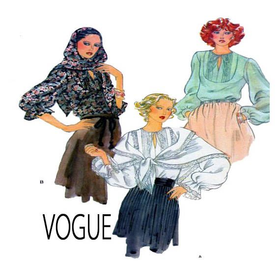 VOGUE 9977, Women Peasant Blouse, Sewing Pattern, Pull Over Top, Loose Fit, Pintuck Bodice, Full Long Sleeve, Ruffle Wrist, Shawl, Size 10