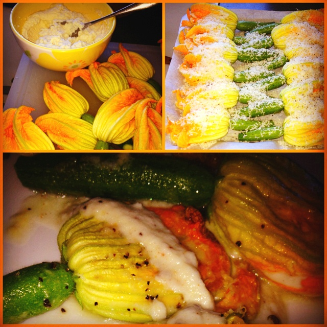 Zucchini flower stuffed with ricotta cheese, nutmeg and Parmesan cheese... Bake for 10 minutes at 425! Yum!