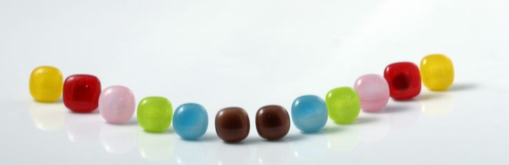 Happy stud earrings made of fused glass